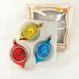 Plastic Christmas Indent Ornaments Original Box Made In Italy