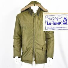 Late 50s Vintage Mens L Hooded Coat Insulated Quilted