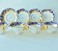 FOUR ANTIQUE COALPORT CREAM SOUP BOWLS WITH UNDERPLATES GILDED GOLD BLUE FLOWERS