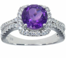 Cocktail Amethyst Round Sterling Silver Fine Rings