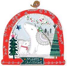 Caja de 5 Tarjetas de Navidad snowglobe en forma de oso polar acabados a mano segunda naturaleza