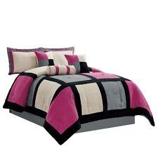 7 Pc Queen Pink, Grey Micro Suede Patchwork Comforter Set Bed In A Bag Bedding