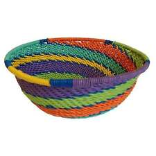 Large Telephone Wire Basket - Rainbow - Handmade in South Africa - Fair Trade