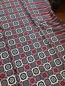 ANTIQUE Vtg PRIMITIVE VICTORIAN 1880s WOVEN Wool COVERLET Geo Pattern ROUGH $NR