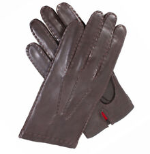 Dents Kingston Men's Silk Lined Brown Leather Gloves Sz 7.5