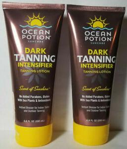 2 Ocean Potion Dark Tanning Intensifier Tanning Lotion Scent Of Sunshine 6.8oz