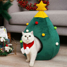Christmas Dog Cat Bed House Soft Nest Tree Shape Pet Bed Cat Cave litter Tent UK