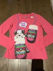 Nwt Justice Pink Mittens Dog Top Size 5 Holidays Gift Fun