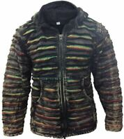 Mens Black Vintage Style Fleece Lined Hippie Gypsy Jacket Emo Goth Zip Up Jumper