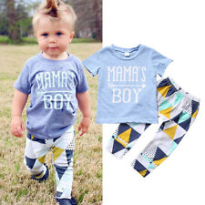 US Newborn Baby Mama's Boy T-shirt+ Long Pants Outfit Clothes Playsuit 12-18M 06