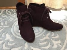 NEW Dolce Vita GWEN Plum Purple Wedge Ankle Boots Booties Lace Front 9.5