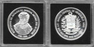 1995 Venezuela Large Proof Silver 500 Bolivares  200 years Sucre