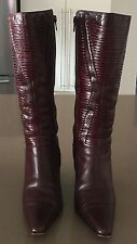 As New Rich Dark Tan Leather Pointy Toes 9cm Heel Boots Size 36.5 Just Stunning!
