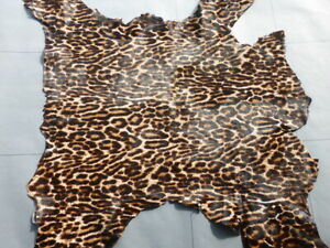 Hair On Calfskin leather hide Classic Leopard Print Silky Hair 2 1/2 oz. 5.5sf