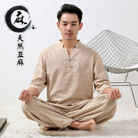 Mens Chinese Tang Suit Top+Pants Martial Arts Uniform Kung Fu Taichi Costume HOT