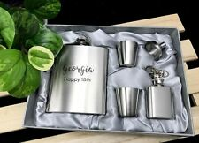 Personalise Engraved Stainless Steel Hip Flask Set - Birthday Design