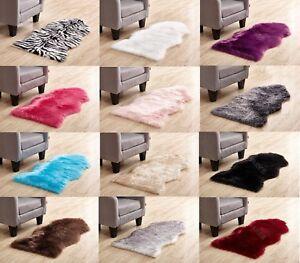 Soft Sheepskin Plain Fluffy Skin Faux Fur Hairy Rug Mat Rugs Carpet Non Slip