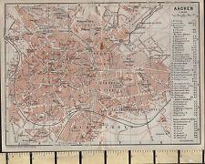 1925 GERMAN MAP ~ AACHEN CITY PLANS ~ HOSPITAL GYM CHURCHES POST TELEGRAPH etc