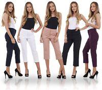 Ladies Cotton Rich Cropped Pants 3/4 Length Capri Summer Trousers