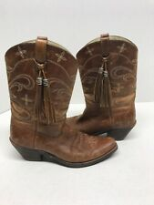ARIAT Brown Leather Cowboy Boots W/Tassels Women's SZ 9B Style# 13625