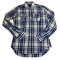 Men's Zara Man Blue White Plaid L/S Button Up Shirt Sz Small EUC Tailored Fit