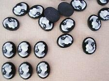 20 Victorian Lady Silhouette Oval Flatback Resin Button/Cabochon/Bead B22-Black