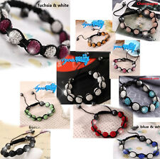 Shamballa Paved Crystal 9x Ceramic Balls Friendship Clay Bracelet For Women Girl