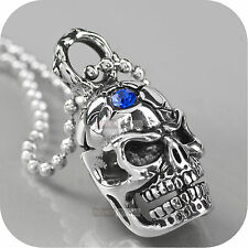 steel chain necklace blue cz 60cm Silver cracked head skull pendant stainless