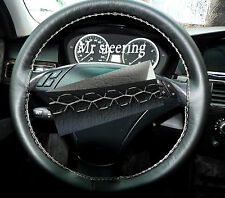 FITS BMW E63 6 SERIES 03-10 REAL BLACK LEATHER STEERING WHEEL COVER WHITE STITCH