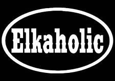 ELKAHOLIC ELK OVAL VINYL WINDOW DECAL 3 X 5 DEER HUNT