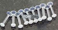 "10 Pc 14g 3/8"" Clear Acrylic Shaft Lip Labret Piercing Retainers with O-Rings"