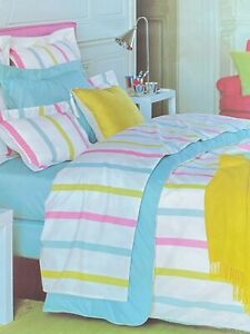 YVES DELORME 1 x Pair Luxury Oxford Pillowcases 50 x 75 Trio Stripe BNIP