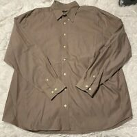 Eddie Bauer Mens Size XXL Tall Solid Brown Long Sleeve Button Down Shirt EUC