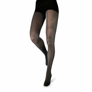 Couture Metallic Silver Glitter Sparkle Black Opaque Tights Large