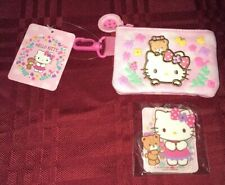 Hello Kitty Mini Pouch Coin Bag Keychain & Hello Kitty Keychain Spring Flowers