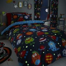 HLC Boys Girls Space Monsters Glow In The Dark Blue Duvet Cover Curtains