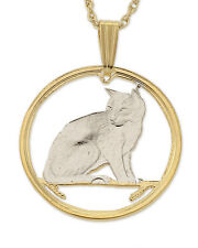 """Cat ( Alley ) Pendant & Necklace Isle of Man Cut coin 3/4"""" diameter ( # 661 )"""