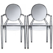 Set of Two (2) Smoke Louis Style Plastic Armchair Dining Room Chair Lounge Chair