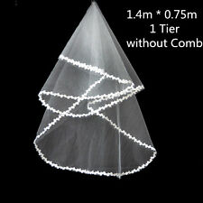 "55""x30"" Cathedral Flower Edge Veils 1 Tier Shoulder Bridal Wedding Accessory UK"