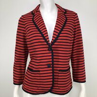 Talbots Blazer Jacket Womens Medium Petite Striped Nautical Blue Red Terry Knit
