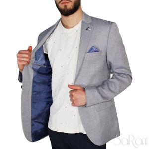 Giacca Uomo Elegante Casual Slim Fit Taschino Bottoni Microfantasia Blu SARANI