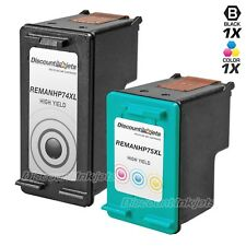 2 74XL 74 75XL 75 HY Black & Color Printer Ink Cartridge for HP PhotoSmart C4250