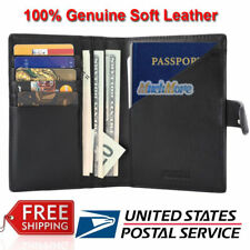 RFID Blocking Genuine Leather 9 Slot Passport Holder Travel Wallet Card Cover US