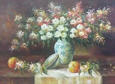 Impressionist Oil On Canvas Signed Tyler Still Life Painting Flowers & Fruit-A