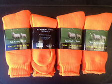 12 PAIRS QUALITY WOOLLEN MENS WORK BOOT SOCKS SIZE:7-11 (HIGH VISIBILITY ORANGE)