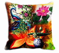 "Peacock Floral Printed Cushion Cover Sofa Home Décor Pillow Case 12"",24"""