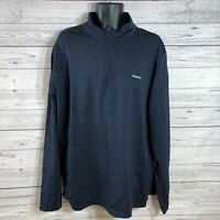 Reebok Blue long sleeve Pull Over 1/4 Zip Shirt Made in Egypt Mens size 2XL
