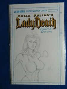 LADY DEATH LEATHER & LACE 2005 ORIGINAL SKETCH COVER LTD TO 150 MATT MARTIN SIGN