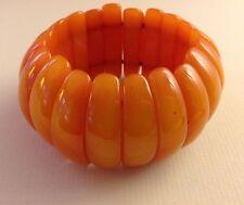 Butterscotch Orange Tibetan AMBER Half Moon Bead Activated Stretch Bracelet NEW!