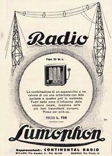 PUBBLICITA' 1931 RADIO LUMOPHON 52 W.L. CONTINENTAL RADIO TRASMISSIONI VALVOLE